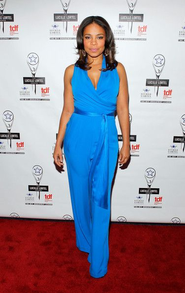 Sanaa Lathan Photos Photos 27th Annual Lucille Lortel Awards Red Carpet Turquoise Jumpsuit Fashion Jumpsuit