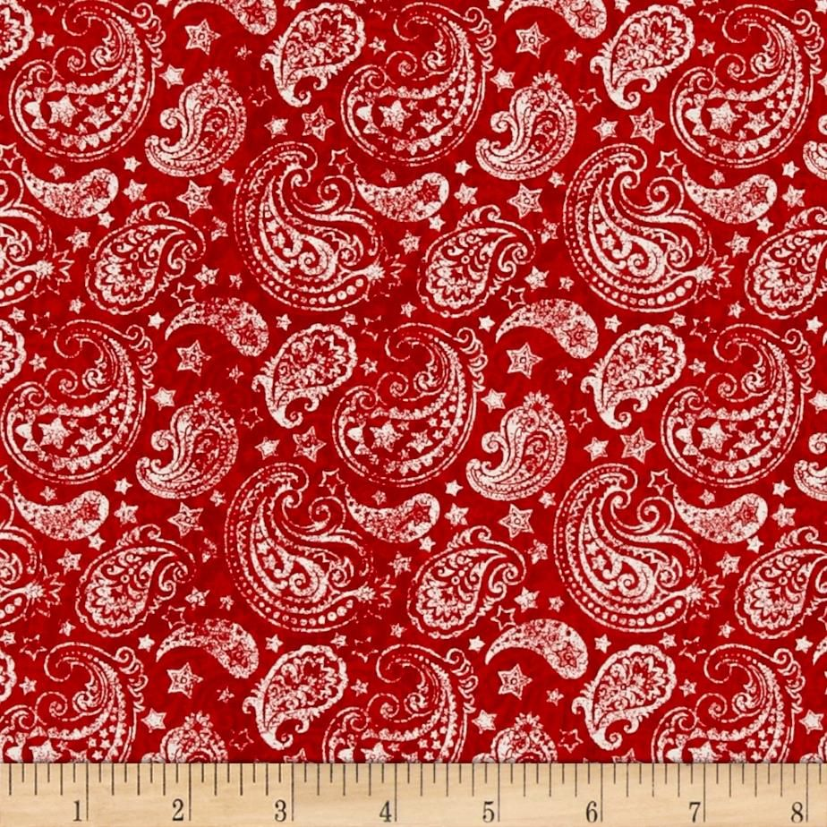 Colors Of Freedom Paisley Red from @fabricdotcom Designed by ...