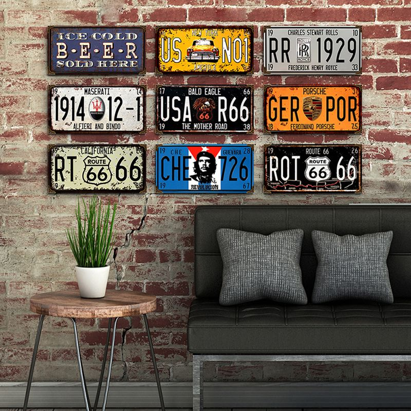 Vintage Metal Car Number License Shabby Chic Home Decor Tin Sign Plate Plaque Art Poster Bar Garage Wall Decoration 15x30cm A828