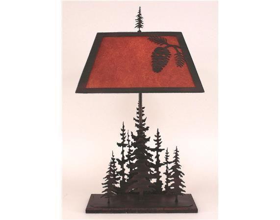 Coast Pine Tree Rectangle Feather Table Lamp - DEQOR.com