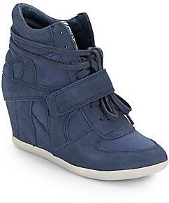 Ash Bowie Leather & Canvas Wedge Sneakers on shopstyle.com