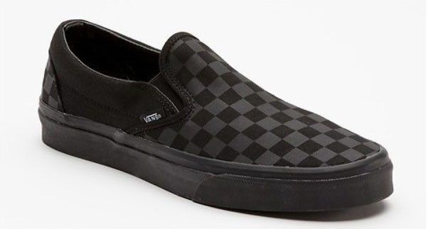 Black on black Van's checkerboard slip-ons. | Vans ...