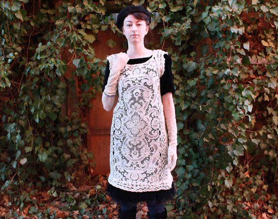 Lace dress handmade dress edwardian dress lace tunic by Wollarium