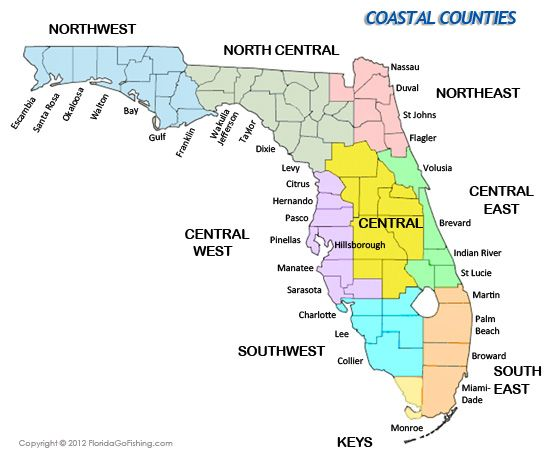 Coastal Counties In Florida Maps Of Florida And List Of Beaches - Map of florida counties and cities