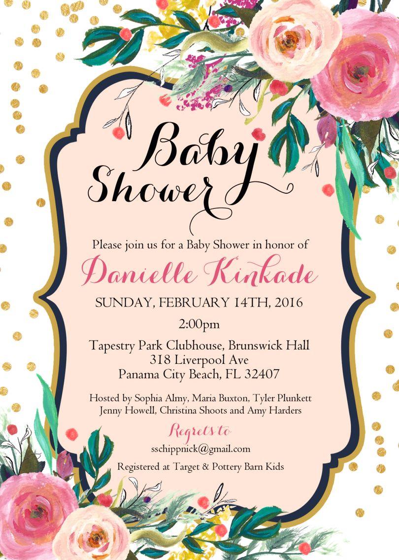 Invitation | Danielle\'s Baby Shower | Pinterest | Pattern flower ...