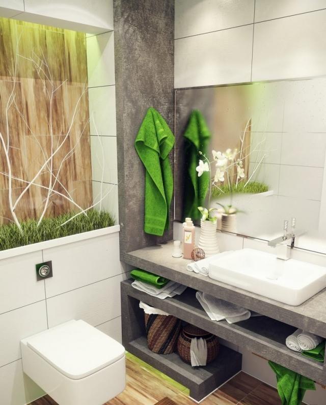 decoration salle de bains moderne esprit nature