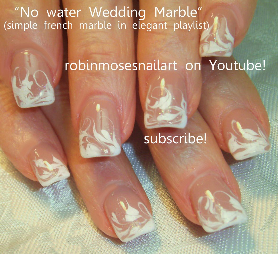 Easy White No Water Marbling Nail Art cutest | Wedding dresses and ...