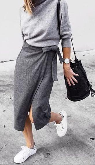 a6db705ad5 wrap midi skirt. fall street style. | | F A S H I O N | in 2019 ...