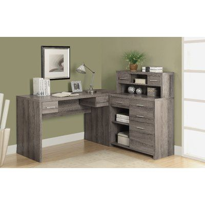 milford l shaped computer desk with hutch havenly home office rh pinterest com