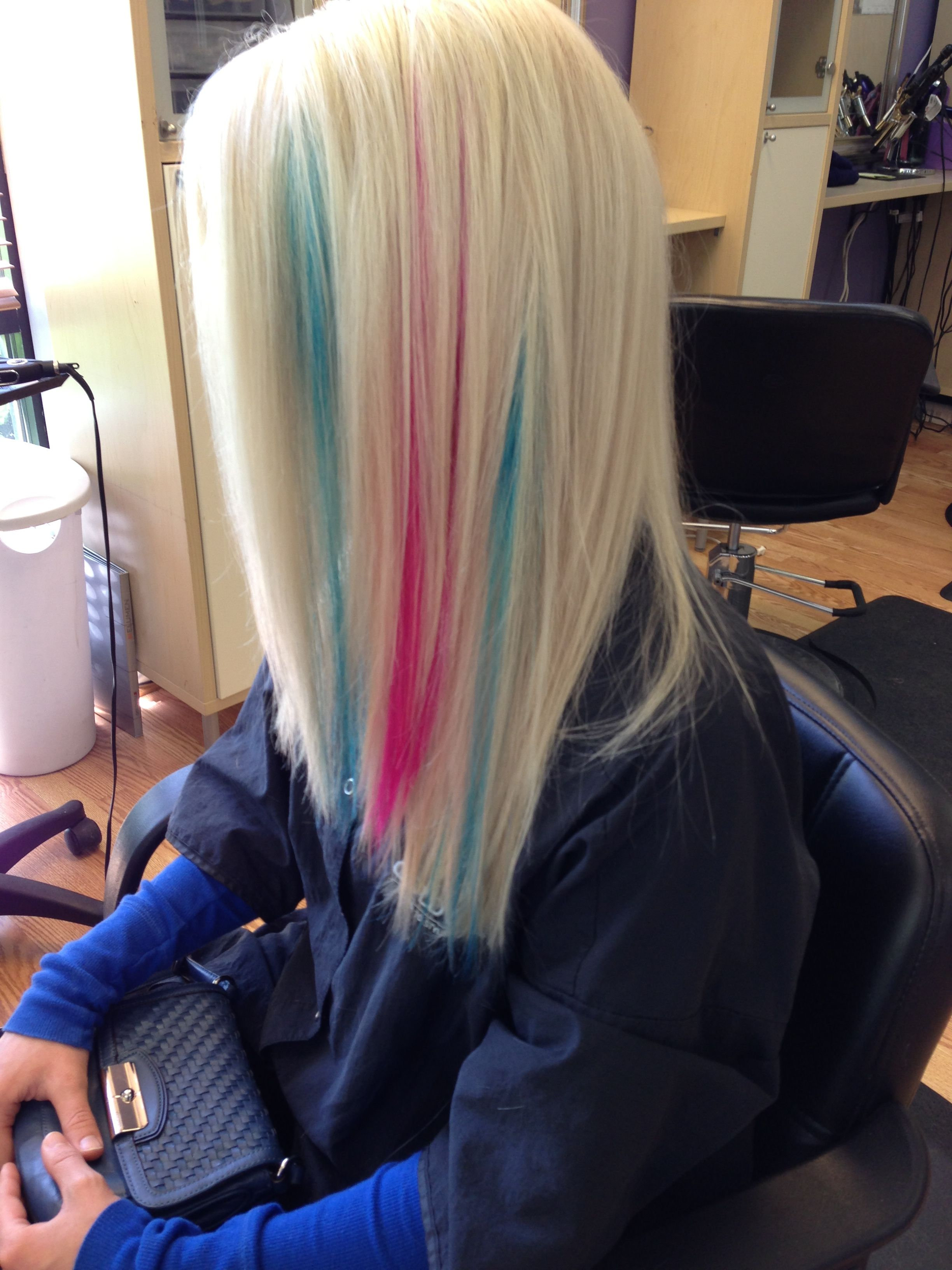 Platinum blonde with pink and teal peek a boos Colorful Hair uc