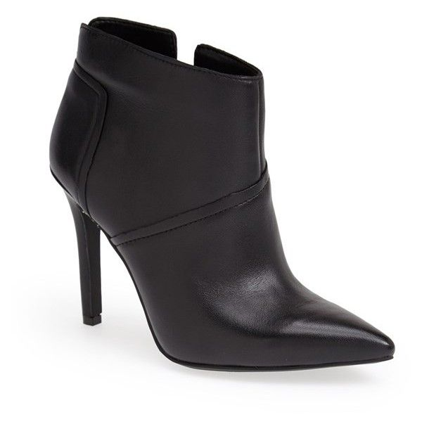 """Jessica Simpson 'Coolen' Pointy Toe Bootie, 4"""" heel ($40) ❤ liked on Polyvore featuring shoes, boots, ankle booties, ankle boots, black, high heel ankle boots, black leather booties, black high heel booties y black boots"""