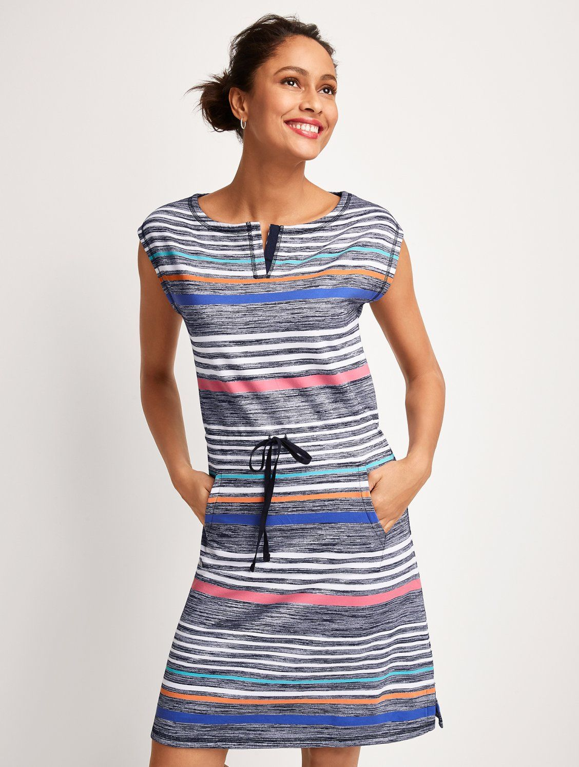 It S Hard Not To Be Happy When Wearing Such A Cheerful Comfy Shift Dress Vibrant Stripes Add Dimension Striped Shift Dress Striped Casual Dresses Shift Dress [ 1492 x 1128 Pixel ]