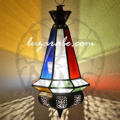 Arabian pear shape ceiling lamp of openwork iron with white and colorful crystal INCLUDED FREE: Electric pendant in black 80 cm Dimensions: Height: 61 cm (hanger: 5 cm) Maximum diameter: 30 cm