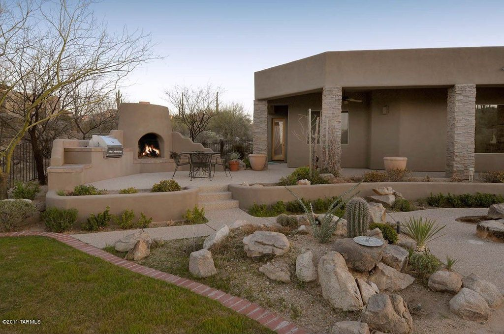 Southwestern Patio with Pathway, Raised beds, Outdoor ...