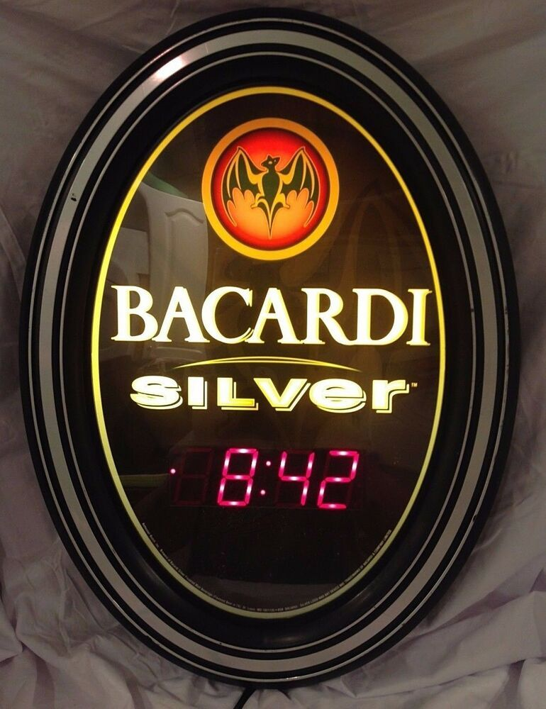 Bacardi Silver Lighted Bar Sign Wall Clock AnheuserBusch
