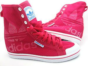 Details about Womens ADIDAS HONEY HI W Pink Textile Trainers