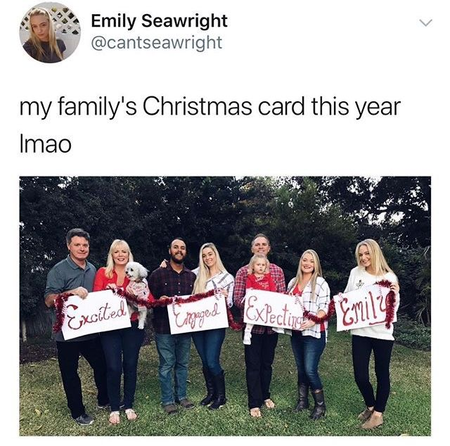 Family Christmas Meme Funny.Hilarious Family Christmas Card Excited Expecting Engaged