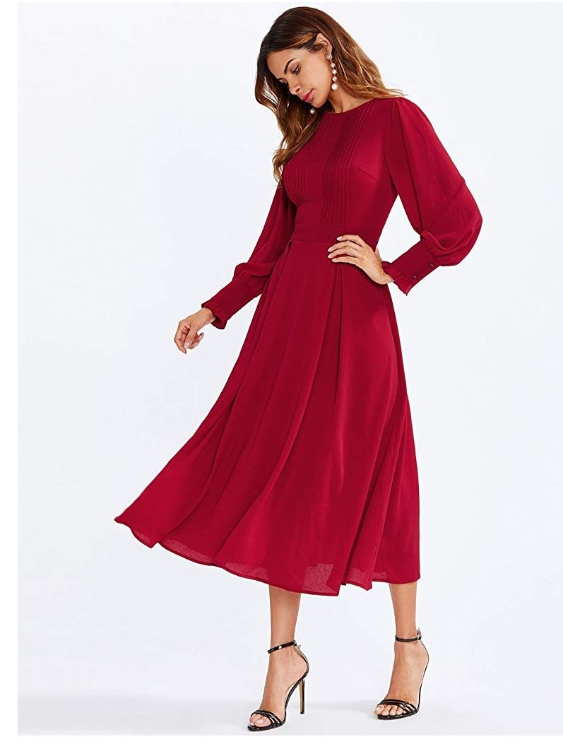 Candy apple puff sleeves long dress products pinterest products