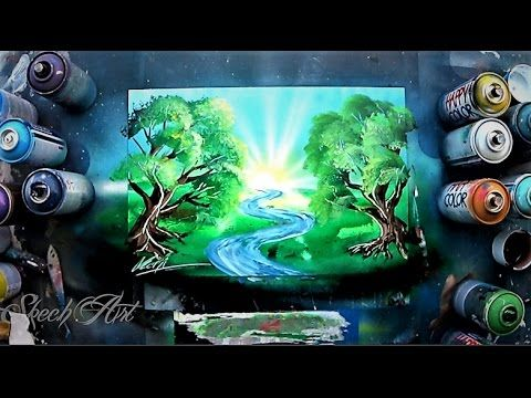 How To Make Trees And River Spray Paint Tutorial By Skech Youtube Spray Paint Artwork Spray Paint Art Art Painting