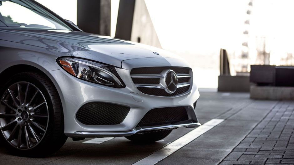 The All New 2015 Mercedes Benz C Class Sedan In Iridium Silver With 19 Inch Amg Multispoke Wheels C Class Mercedes Mercedes Benz C300