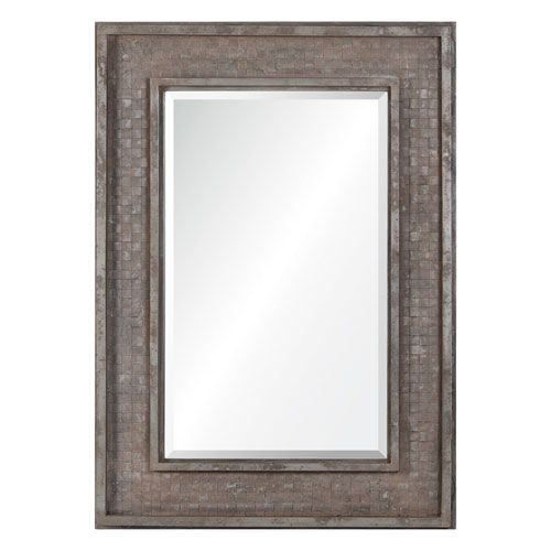 Pendle Rusted Brown Mirror with Silver Highlights