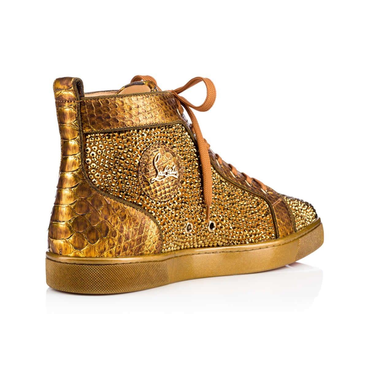 LOUIS VEAU VELOURS/PYTHON/PAVE STRASS Antic Gold Python - Men Shoes - Christian  Louboutin