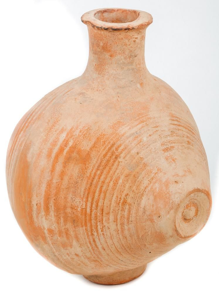 Large Barrel shaped Jug Terracotta vessel with small