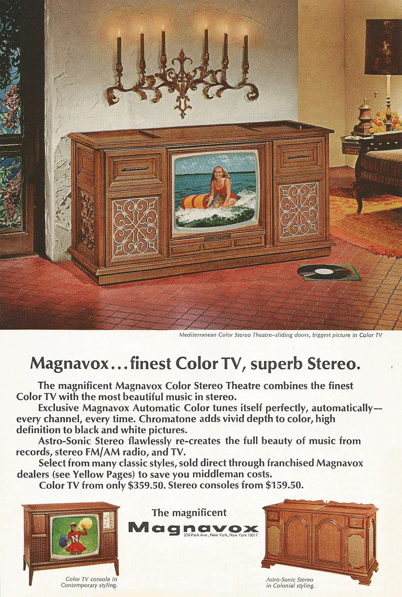 1965 Magnavox Color Television Stereo Theatre Stereo And
