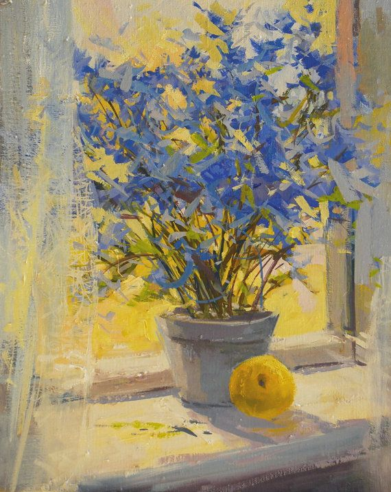 Yellow Blue Flowers Painting Print - Floral Canvas Art Yellow Blue ...