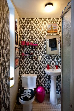 Temporary removable wallpaper takes the bathroom from drab to fab.  Featured in Houzz.com's 'wild colors, fearless patterns...' http://www.houzz.com/ideabooks/9618710/list?utm_source=Houzz_campaign=u286_medium=email_content=gallery9