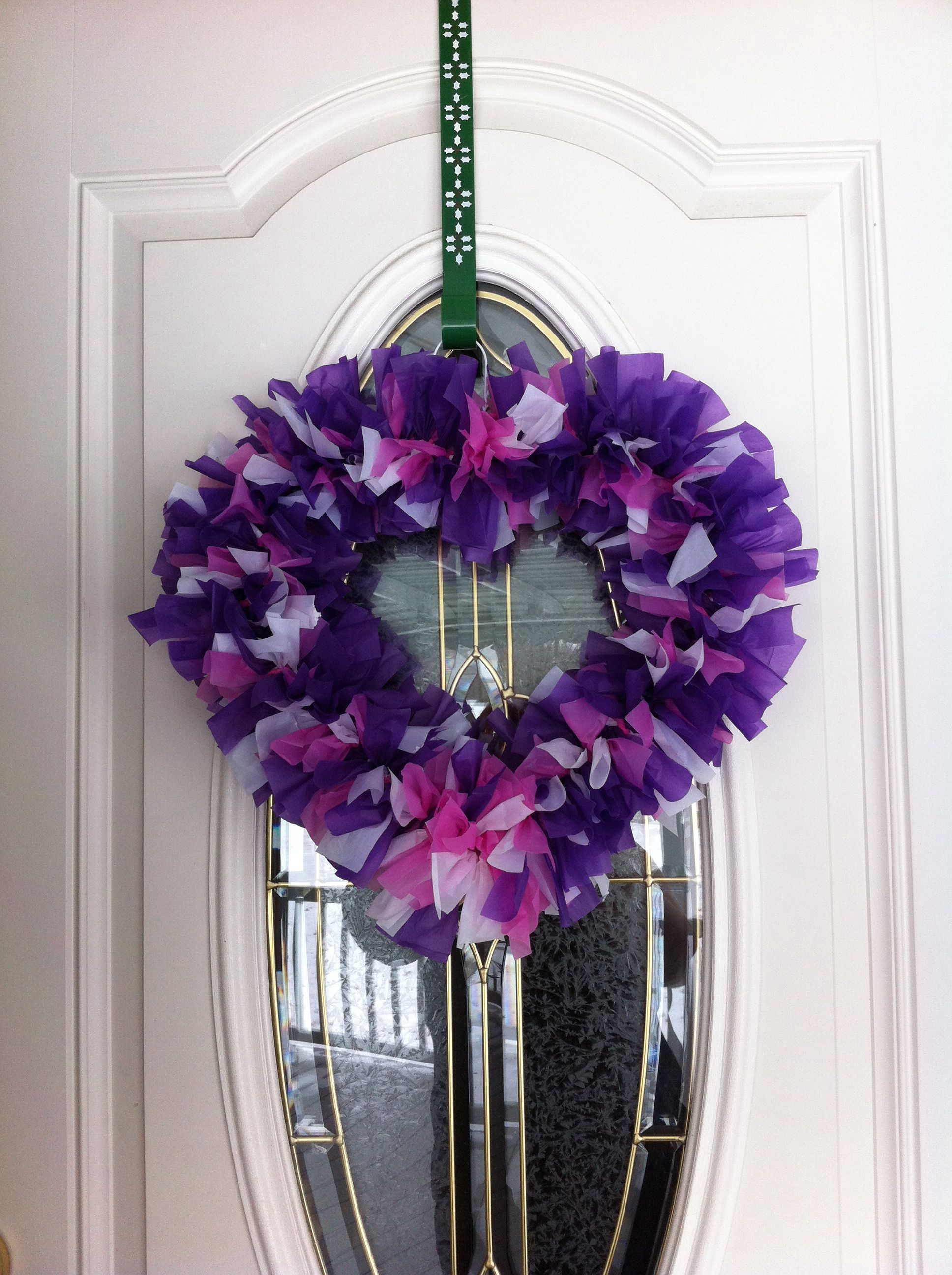 Heart Wreath made from coat hangers & plastic table