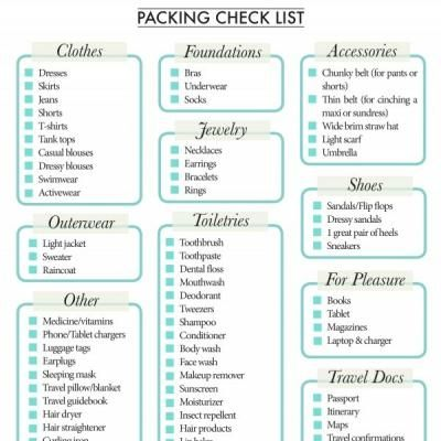 Health Activity Free Childrens Printables  Vacation Packing Lists