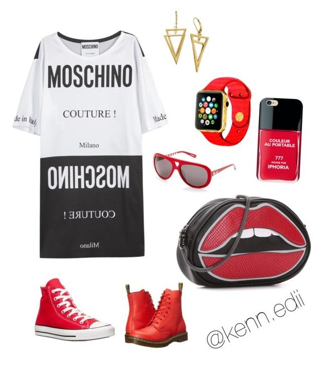 """"""""""" by kennedii on Polyvore featuring Moschino, Converse, Dr. Martens, Iphoria and Love Moschino"""