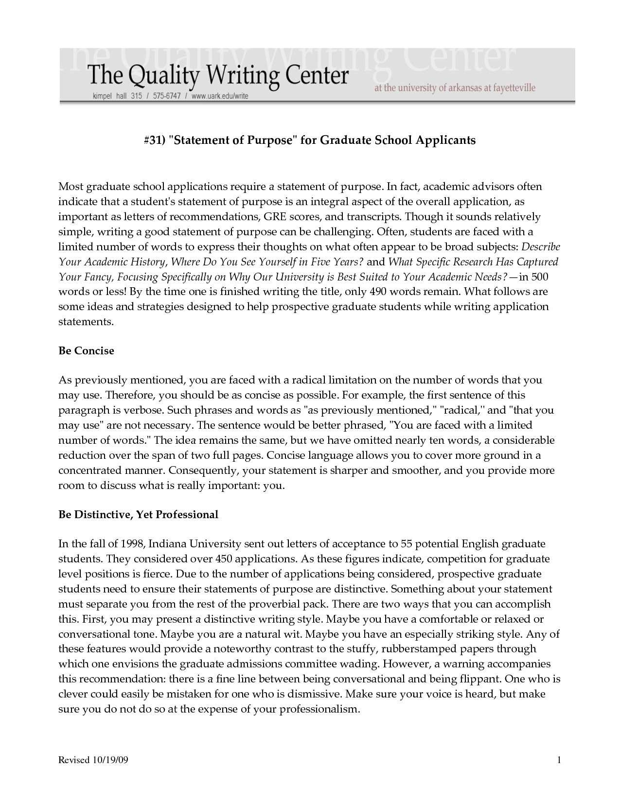 Sample Personal Statement For College Example Graduate School Essay Writing A Masters