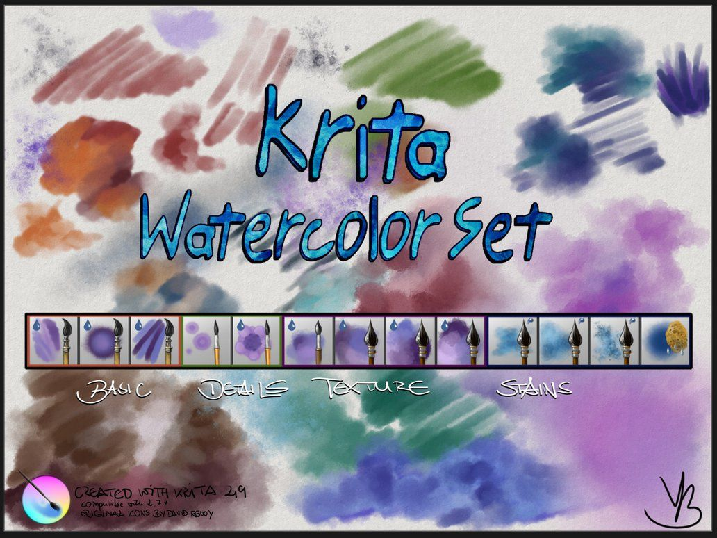 Krita Watercolor Set V1 01 By Grindgod Deviantart Com On
