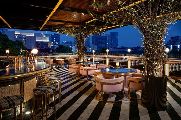 Basile Studio Raises The Roof For San Diego S Born Raised Rooftop Restaurant Design Restaurant Design Rooftop Restaurant