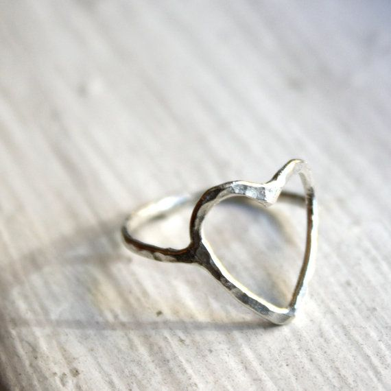 Hammered Open Heart Ring Sterling Silver by RachelPfefferDesigns