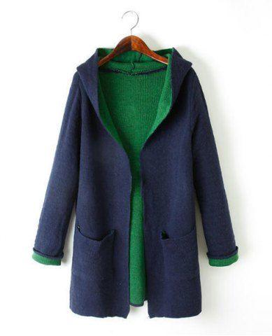 Stylish Hooded Long Sleeve Color Block Double Pocket Women's Cardigan