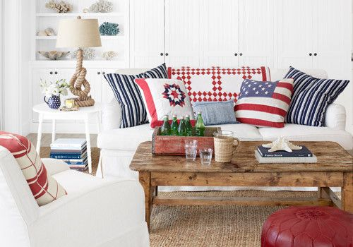 American Country Cottage Decorating: All-American Style: Red, White, & Blue Rooms!