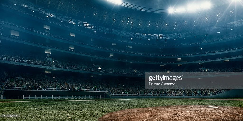 A Wide Angle Of A Outdoor Baseball Stadium Full Of Spectators