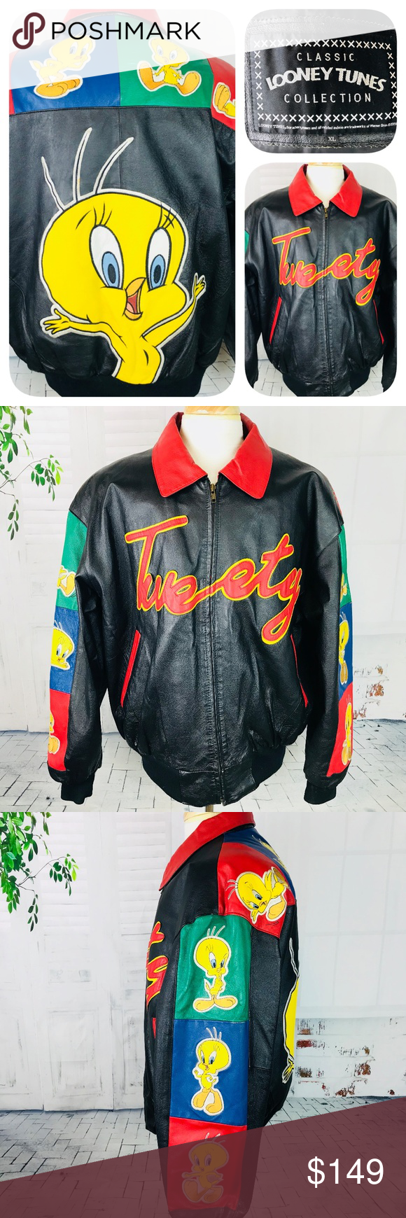 Looney Tunes Collection Tweety Leather Jacket Xl Vintage Leather Jacket Jackets Leather Jacket [ 1740 x 580 Pixel ]