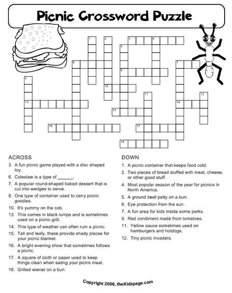 Picnic Crossword Puzzle Free Printable Learning Activities For