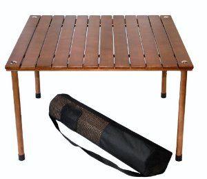 Table In A Bag: Low Wood Portable Table With Carrying Bag, Brown, 27