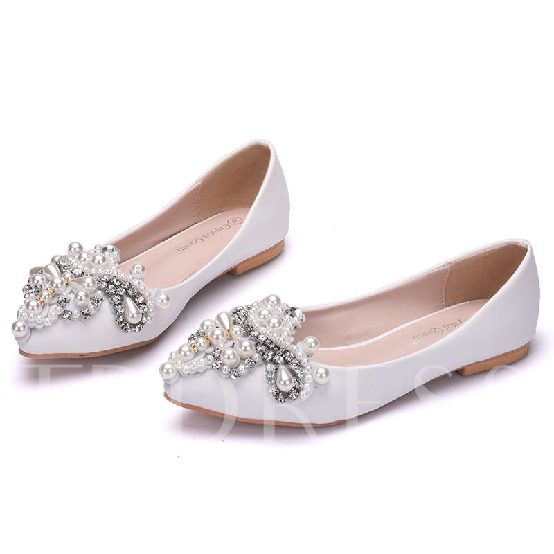 Pearl rhinestone flat with womens wedding shoes with