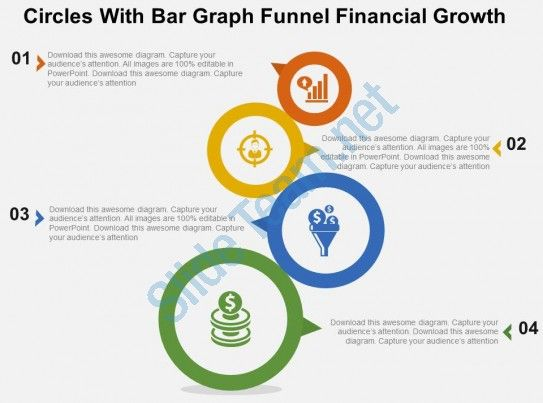 Circles With Bar Graph Funnel Financial Growth Flat Powerpoint - Awesome funnel image powerpoint concept