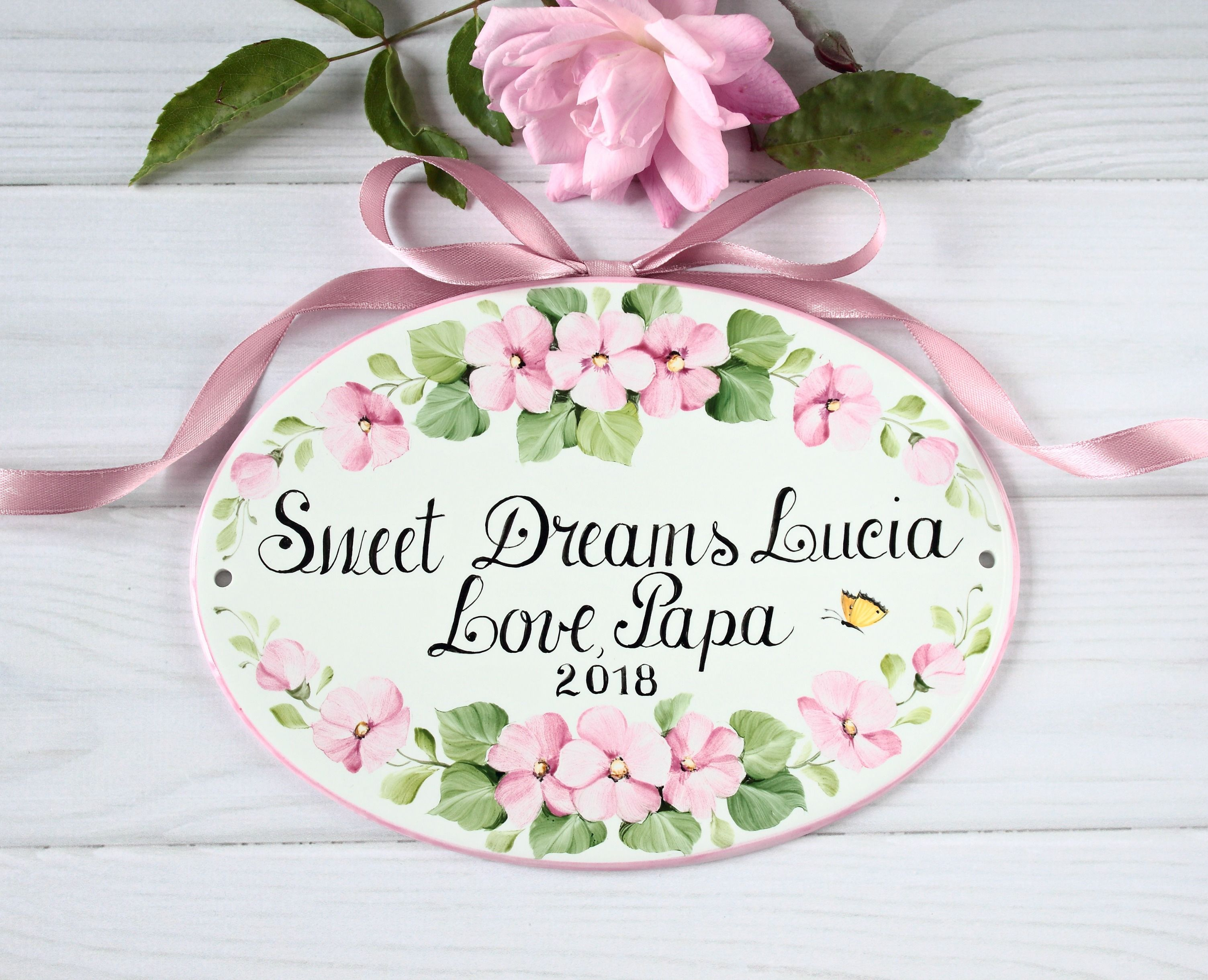 Personalised Pink Floral Wreath Personalized Girls Bedroom Baby Nursery Door Sign Wooden Sign D/écor