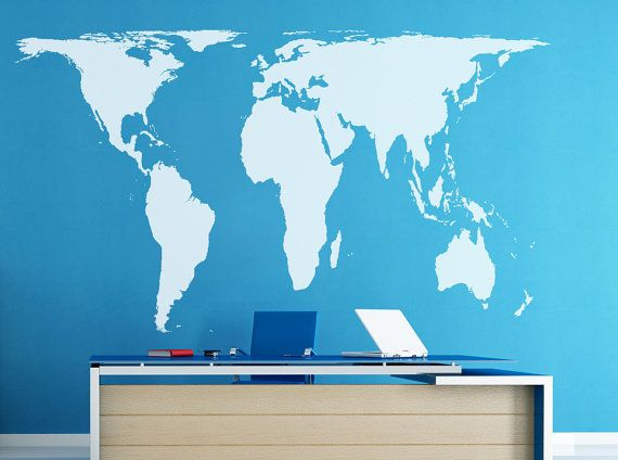 Peters Projection World Map Wall decal Vinyl Art by ... on peters projection map vs mercator, accurate scale map of globe, flat map and globe, peters projection map with scale, peters map of the world, peters projection of the world,