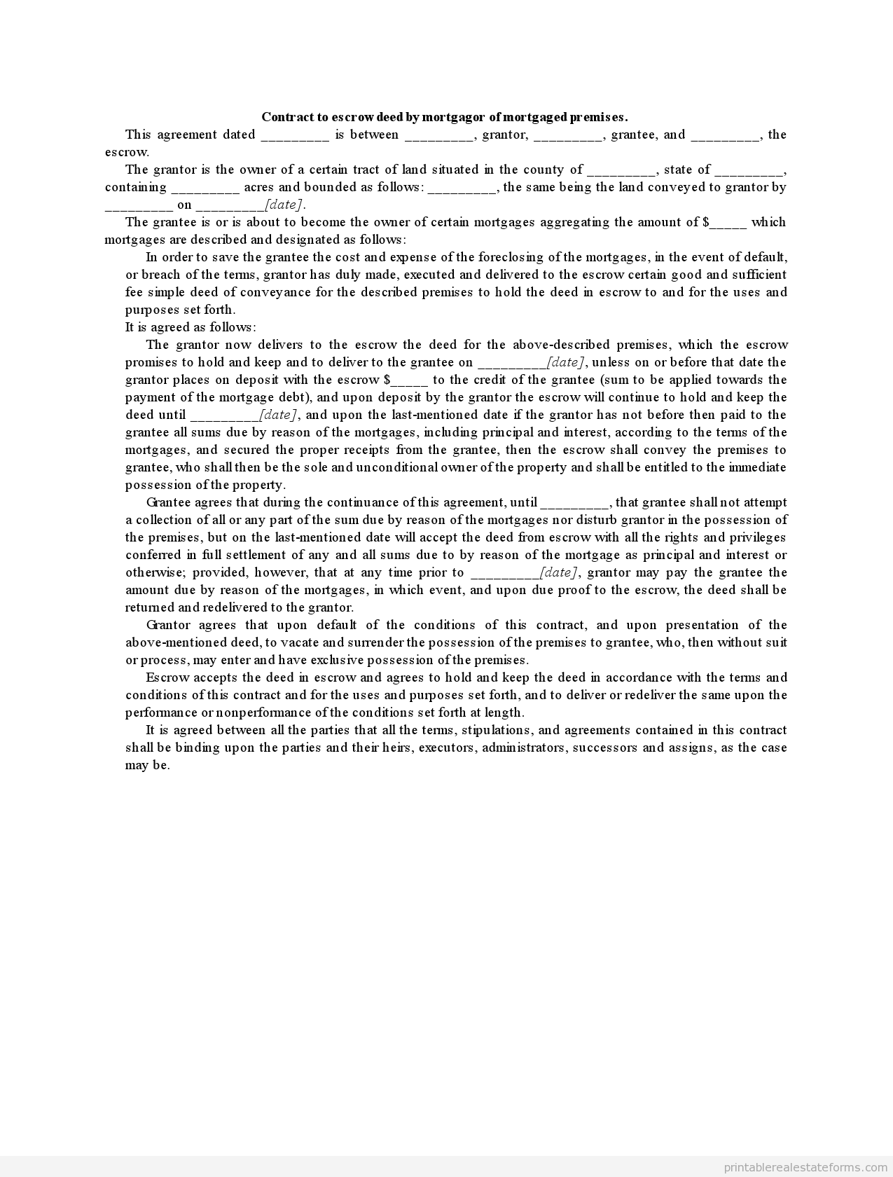 printable contract to escrow deed by mortgagor of mortgaged