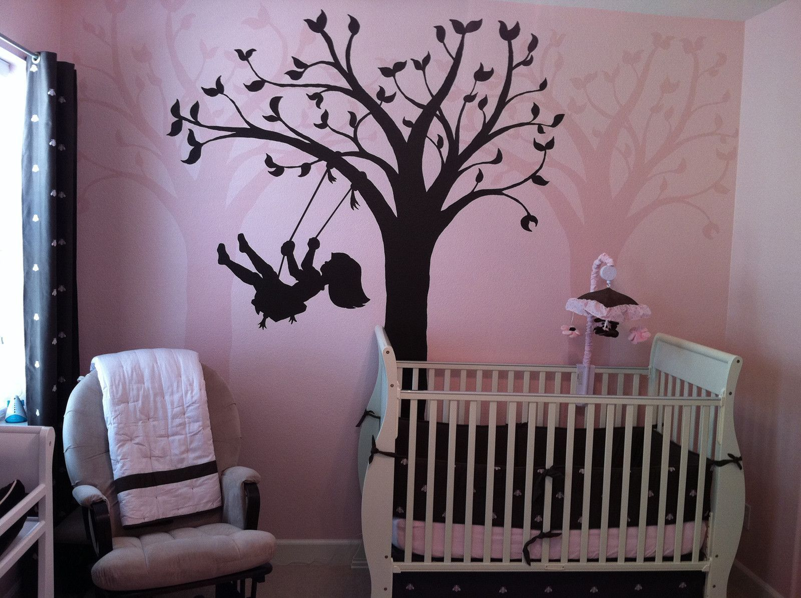 This Silhouette Swing Wall Mural Looks Adorable With Pink And Green Leaves.  Beautiful Little Girl Idea