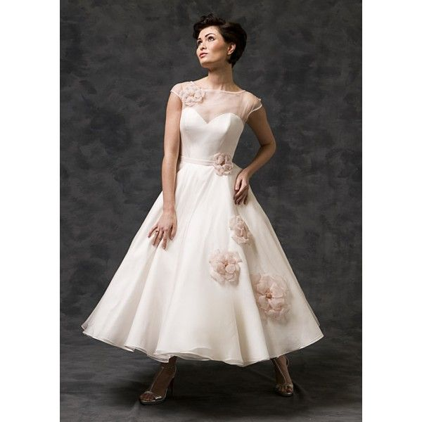Tea Length Pink Blush Organza Wedding Dress With Flowers